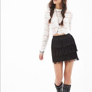 Forever21 Black Tiered Fringe Mini Skirt